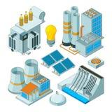 Equipo eléctrico Los generadores de la iluminación de la electricidad del vatio vector las imágenes isométricas aisladas ilustración del vector