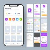 Equipo en línea del App UI de la película para el app móvil responsivo o página web con diverso GUI stock de ilustración
