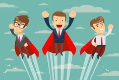 Equipo estupendo del negocio en los cabos rojos que vuelan hacia arriba a su éxito ilustración del vector