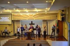 Equipo evangélico de la adoración de la iglesia Imagen de archivo libre de regalías