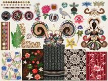 Equipo floral victoriano del vector ilustración del vector