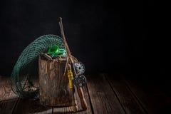 Equipo hecho a mano del pescador con la red, las barras y los flotadores Fotografía de archivo libre de regalías