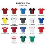 Equipo 2018 - 2019, iconos alemanes de los jerséis de Bundesliga de la liga de fútbol Imagen de archivo libre de regalías