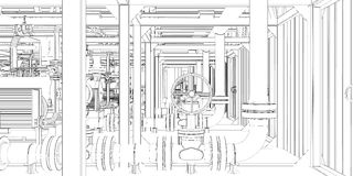 Equipo industrial. el Alambre-marco 3d rinde
