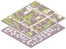 Equipo isométrico de la creación del mapa de la pequeña ciudad Fotos de archivo