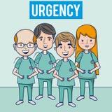 Equipo médico de la urgencia del hospital stock de ilustración