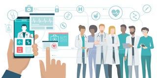 Equipo médico y atención sanitaria app stock de ilustración