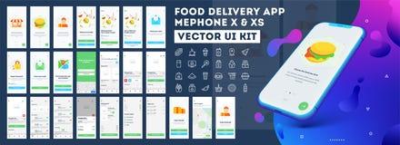 Equipo móvil del ui del app de la entrega de la comida incluyendo muestra para arriba, menú de la comida, la reservación y el ser ilustración del vector