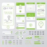 Equipo móvil verde plano del web UI Imagen de archivo