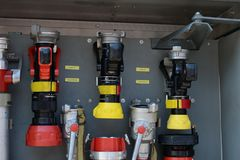Equipo moderno del coche de bomberos Fotos de archivo libres de regalías