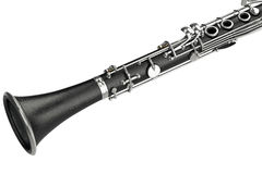 Equipo musical del clarinete, visión cercana Foto de archivo libre de regalías