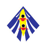 Equipo para dos personas en logotipo de la canoa del rowing imagen de archivo