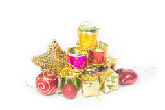 Equipo para la celebración de la Feliz Año Nuevo del festival de la Navidad Fotografía de archivo