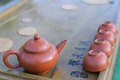 Equipo para la ceremonia de té de los lomos. Imagen de archivo