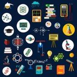 Equipo plano y símbolos de la ciencia de la física Fotografía de archivo libre de regalías