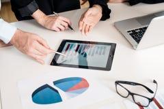 Equipo profesional que analiza la carta de barra exhibida en la tableta Imágenes de archivo libres de regalías