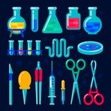 Equipo químico del vector para el experimento Laboratorio de química Frasco, frasco, tubo de ensayo, escalas, réplicas de cristal stock de ilustración