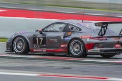 Equipo que compite con de Ruffier Porsche 991 24 horas de Barcelona Fotografía de archivo