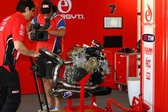 Equipo que compite con oficial WSBK de Ducati Panigale Imagen de archivo libre de regalías