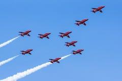 Equipo rojo de la exhibición de aire de las flechas Foto de archivo