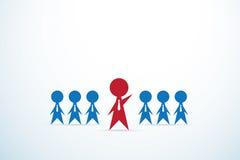 Equipo rojo de la ventaja del hombre de negocios, dirección y concepto del negocio Imagen de archivo libre de regalías
