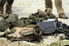 Equipo táctico de los soldados de las fuerzas especiales. Imagen de archivo