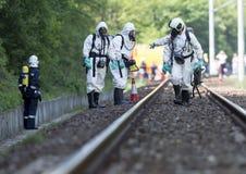Equipo tóxico de la emergencia de las sustancias químicas y de los ácidos Foto de archivo libre de regalías