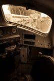 Interior de la locomotora vieja Foto de archivo