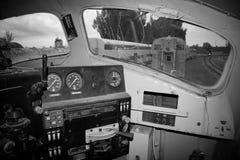 Interior de la locomotora vieja Fotos de archivo libres de regalías