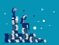 Equipo y búsqueda del negocio para el éxito Vector IL del negocio del concepto ilustración del vector