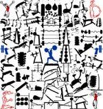 Equipo y objetos de la gimnasia cientos vectores Imagen de archivo libre de regalías