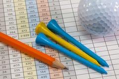 Equipos de la tarjeta y de golf de la cuenta del golf Fotos de archivo