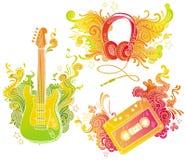 Equipos musicales con la decoración del doodle Fotografía de archivo