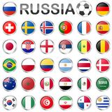 Equipos nacionales rusos del juego de fútbol Fotografía de archivo libre de regalías