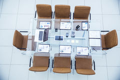 Equipped Desk for the business meeting business partner in modern meeting room Stock Photos
