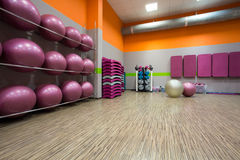 Equipped gym at fitness center. Interior of equipped gym at fitness center royalty free stock photography
