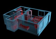 Equipped house (3D xray red and blue transparent). Equipped house (3D xray red and blue transparent isolated on black background stock illustration