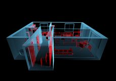 Equipped house (3D xray red and blue transparent). Equipped house (3D xray red and blue transparent isolated on black background Stock Image