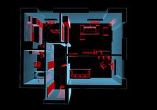 Equipped house (3D xray red and blue transparent). Equipped house (3D xray red and blue transparent isolated on black background Royalty Free Stock Image