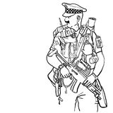 Equipped policeman. Armed policeman carrying many extras Royalty Free Stock Photography