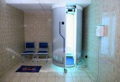 Equipped solarium salon room. Solarium equipped salon room for sun tan Royalty Free Stock Images
