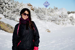 Equipped tourists woman  on a ski slope in Bulgaria,Borovets Stock Photography