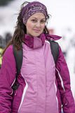 Equipped tourists woman  on a ski slope in Bulgaria,Borovets Stock Image