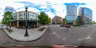 equirectangular сферически фото 360 городского Сиэтл Вашингтона стоковое фото