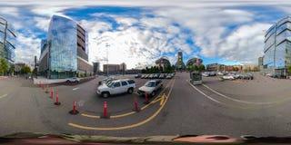 360 equirectangular bańczasta fotografia W centrum Seattle Waszyngton obrazy stock