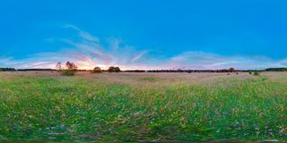 Equirectangular  360 degree spherical panorama for virtual reality background beautiful sunrise at the field landscape blue sky. Summer Royalty Free Stock Photography