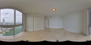 Equirectangular panoramic living room photo Royalty Free Stock Image