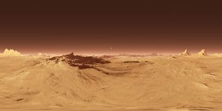 360 Equirectangular projection of Mars sunset. Martian landscape, HDRI environment map. Spherical panorama.. Stock Photography
