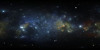 360 Equirectangular projekcja Astronautyczny tło z mgławicą i gwiazdami Panorama, środowisko mapa HDRI bańczasta panorama royalty ilustracja