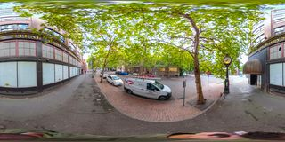 360 equirectangular spherical photo of Downtown Seattle Washington stock photo